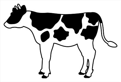 柄のある牛の全身イラスト【横向き】