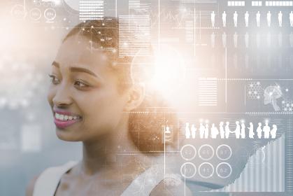 ビジネスパーソンとビジネス・テクノロジーのイメージCG