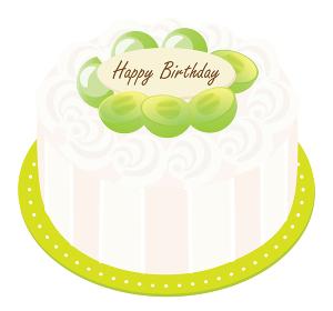 マスカットと生クリームのお誕生日ケーキ