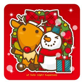 はっぴークリスマス トナカイさんと雪だるまさん(赤)