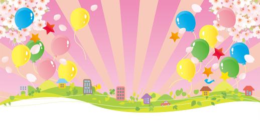 春に風船が飛ぶ桜背景