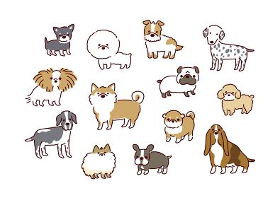 犬種いろいろ!かわいい犬のイラストセット