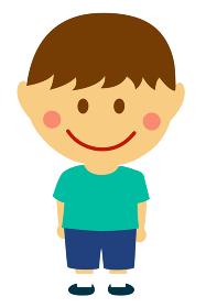 デフォルメ・二頭身 日本人 子供・少年・男の子 全身人物イラスト