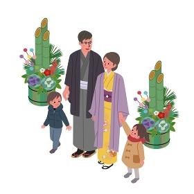 アイソメトリック 着物の家族 イラスト アイソメ図