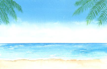空と海とヤシの木 水彩画