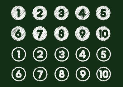 チョークで描いたような番号・順位アイコン(1から10)
