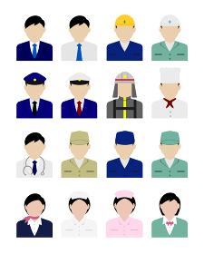 シルエット人物 アバターイラスト・ビジネスコスチューム セット (アジア人・日本人・白人)