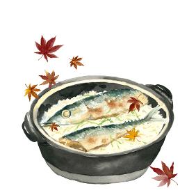 土鍋秋刀魚ごはん サンマ 新米 秋の味覚 料理 白背景 もみじ【水彩】