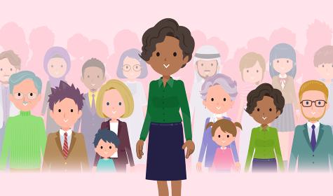 大勢の前に立つ黒人ビジネス女性のセット