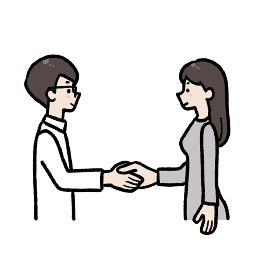パートナーシップ 握手をする男女のイラスト