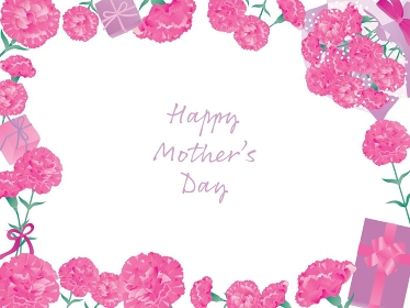 母の日のピンクのカーネーションのフレーム