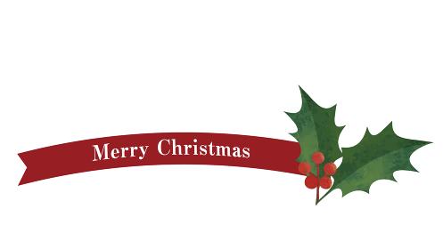 シンプルなリボンとヒイラギの装飾(レッド)クリスマスデコレーション