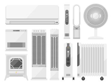 暖房器具のイラストセット
