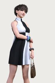 白と黒のパターンのノースリーブのハイネックワンピースを着たショートヘアの女の子が派手なバングルをしてカバンを持って立ちポーズをしている