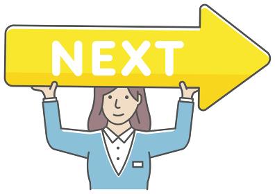 ネクストボタン・次へ進む/ 矢印を持つ女性会社員 ベクターイラストセット