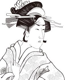 浮世絵 女性 その18 白黒