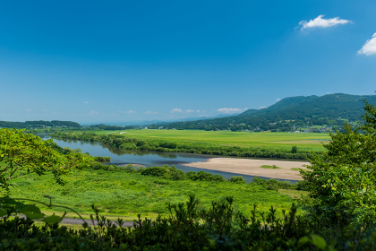 平泉 高館からの北上川の眺め 8月