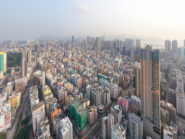 Sham Shui Po, Hong Kong 18 March 2019: Aerial view of Hong Kong city