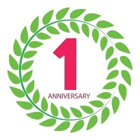 Template Logo 1 Anniversary in Laurel Wreath Vector Illustration EPS10. Template Logo 1 Anniversary in Laurel Wreath Vector Illustration