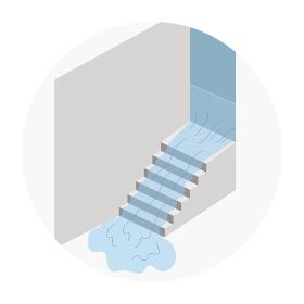 階段から地下に流れる洪水のイラスト