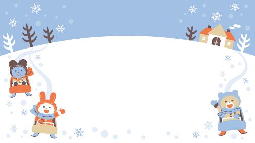 ソリあそびをするクマ・ウサギ・ネズミ/フレーム/4色・シンプルカラー