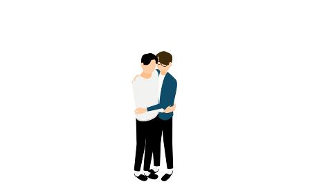 アイソメトリック、LGBT、ハグするゲイカップル
