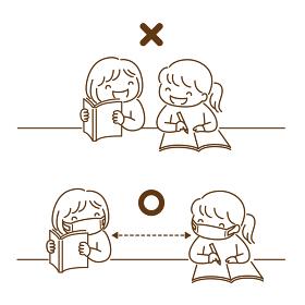 友達と一緒に勉強をする子供のモノトーンイラスト「距離をとろう」