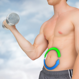 Composite image of strong man lifting dumbbell with no shirt on