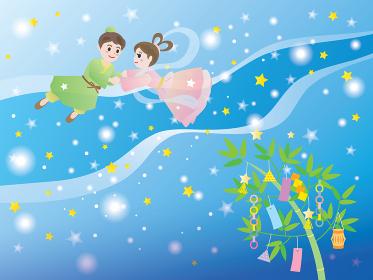 七夕の夜に天の川で会う織姫と彦星