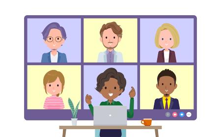 複数人でオンライン会議をしている黒人ビジネス女性のセット。正面アングル