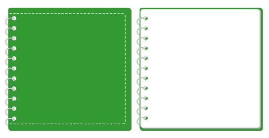 スケッチブック リングノート 表紙とページのセット イラスト ベクター ※正方形サイズ