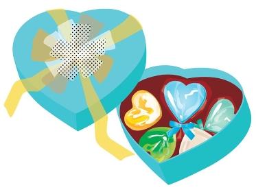 ホワイトデーのキャンディーとチョコとハート型の箱 青