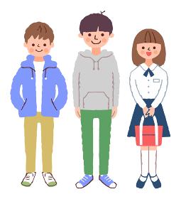 制服を着た女の子と2人の男の子