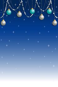 クリスマス用背景素材, 青いグラデーション背景に青とシルバーのオーナメント