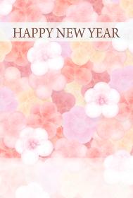 年賀状 淡く柔らかな梅の花模様のハガキデザイン 縦