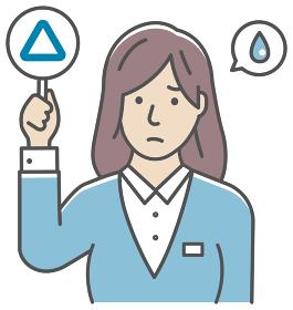 ○×プレートを手に持つ若い女性会社員のイラスト(上半身) / サンカク・三角
