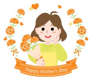 母の日のお母さんとカーネーションの花束