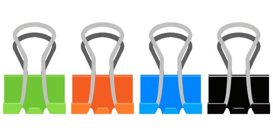 イラスト素材 ダブルクリップ クリップのイラスト カラー バリエーション ベクター