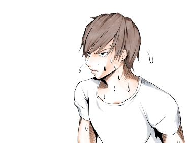 漫画風カラー_暑くて汗をかく白シャツの男_横