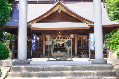 神社境内の茅の輪、山形県長井市総宮神社