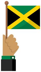 手持ち国旗イラスト ( 愛国心・イベント・お祝い・デモ ) / ジャマイカ