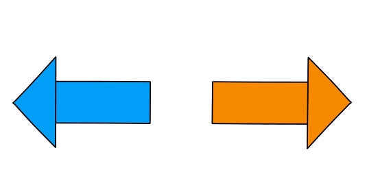 シンプルな左右を向いた矢印「黒淵あり」
