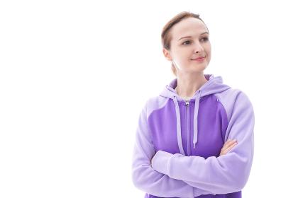 パーカーを着た女性のポートレートイメージ