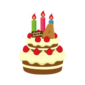 誕生日・バースデーケーキ イラスト ( 4歳)
