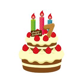 誕生日・バースデーケーキ イラスト ( 7歳)