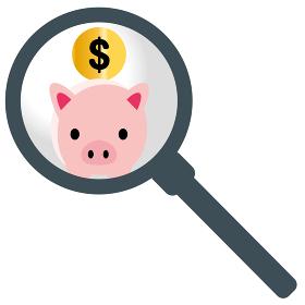 虫眼鏡拡大鏡かわいいブタ豚の貯金箱のイラスト米ドル|貯金・節約のイメージ|ベクターデータ