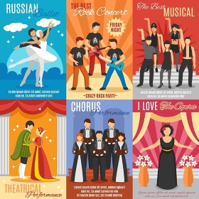 Flat Theatre Posters Set. Flat theatre posters set of russian ballet rock and choral concert theatrical and opera performance vector illustration