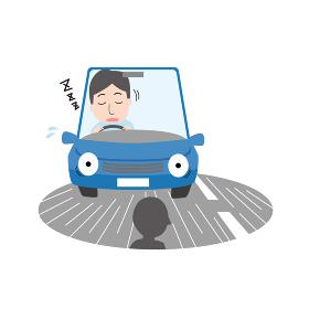 居眠り運転をする男性
