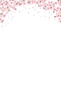 満開の桜並木、桜のアーチ、風景イラスト 飾り、フレーム、上部に装飾(縦長 A3・A4比率)
