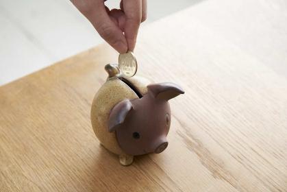 貯金箱に硬貨を入れる女性の手元